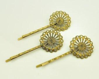 Bobby Pins / Hair Pins - 20 pcs Antique Bronze Filigree Bobby Pins / Hairpin with 25MM Pad