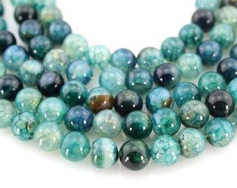 8mm Green Agate Beads,Full Strand,Agate Beads ,Round Agate Beads,Gemstone Beads---about 48 Pieces---15inches--BA011