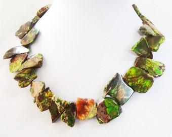 Slab Bohemian Necklace - Green Brown Variscite Necklace - Chunky Bib Gemstone Necklace - Gold Findings - Tribal Boho Statement Jewelry Gift