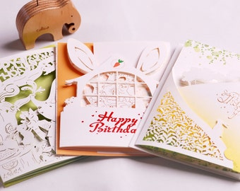 Handmade Laser Card - Happy Birthday, Thank you Card including Envelopes (LAC_21,23,24)