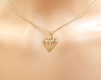 Geometric Necklace, Delicate Gold Diamond Charm Necklace. Geometric Jewelry