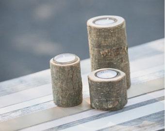 Bougeoir en bois bûche pour mariage. Candle holder, tea light holder for wedding vintage
