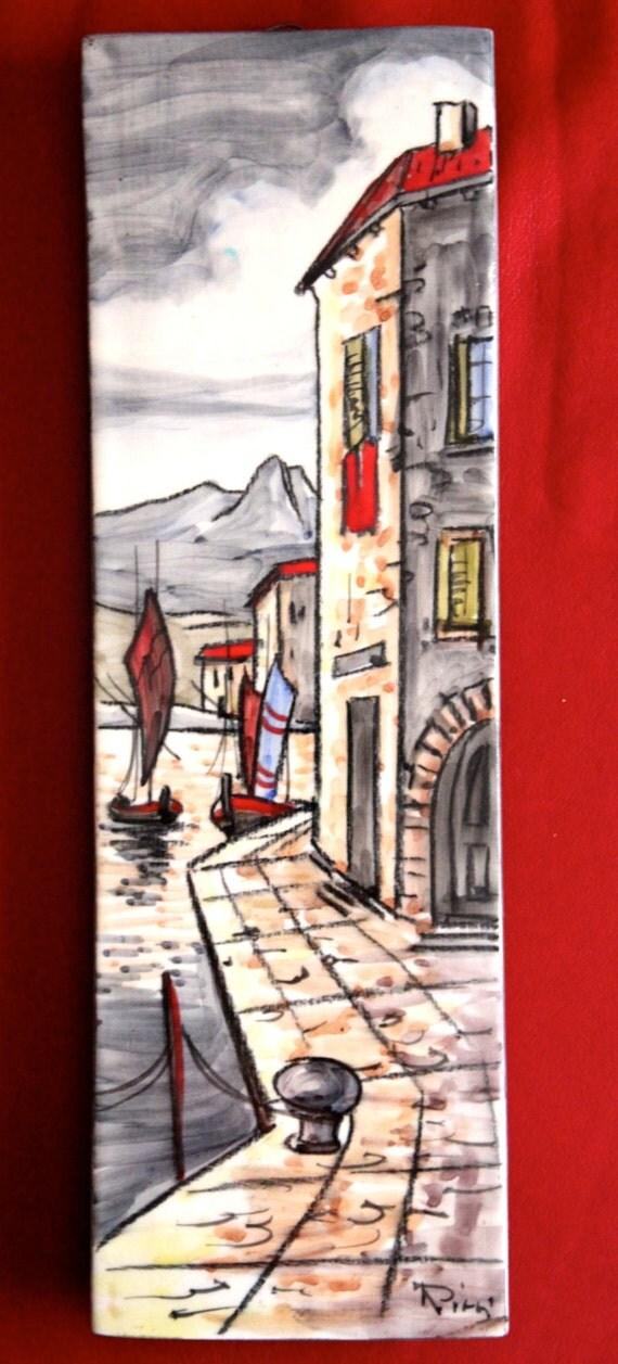 une main exquise peint carrelage mural par carlo ricci pour