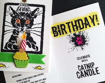 Catnip Candle Birthday Card with Cat Toy