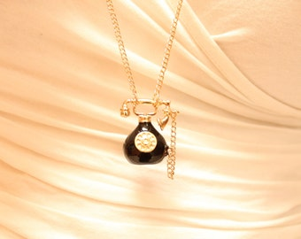 "Vintage 18k Gold Plated and Black Rotary Telephone Pendant Necklace with Choice of Chain length 16-30"" + lobster clasp and extender"