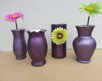 Set Of 4 Custom Hand Dyed And Painted Vases