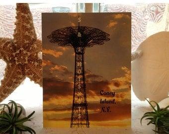 """Parachute Jump"""" Postcard, Coney Island NY"""