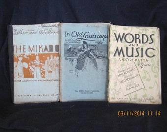 3 vintage music books