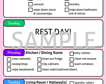 Cleaning Schedule for Erin Condren Life Planner and Notebook - PDF Download