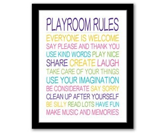 INSTANT DOWNLOAD, Playroom Rules, Nursery Art, Playroom Decor, Children's Art, Playroom Art, Kids Rules, Printable Kids Art, Playroom Sign