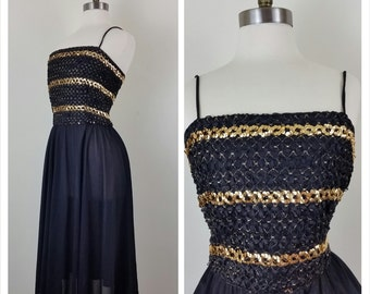 70s Disco Dress Black and Gold Sequined L