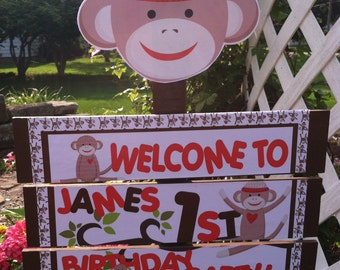 Sock Monkey Birthday or Baby Shower Yard Sign
