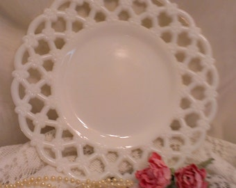 Westmoreland milk glass forget me knot lattice Edge plate