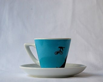 Mountain Bike Blue Espresso Cup and Saucer