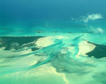 Photography, Bahamas Aerial View 5191, Fine Art Print, Home Decor, 5x7, 8x10, 11x14, Wall Art, Blue, Green, Islands, Sea, Fine Art Print