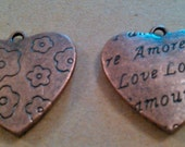 Large Puff Heart Bronze Pendants or Charms