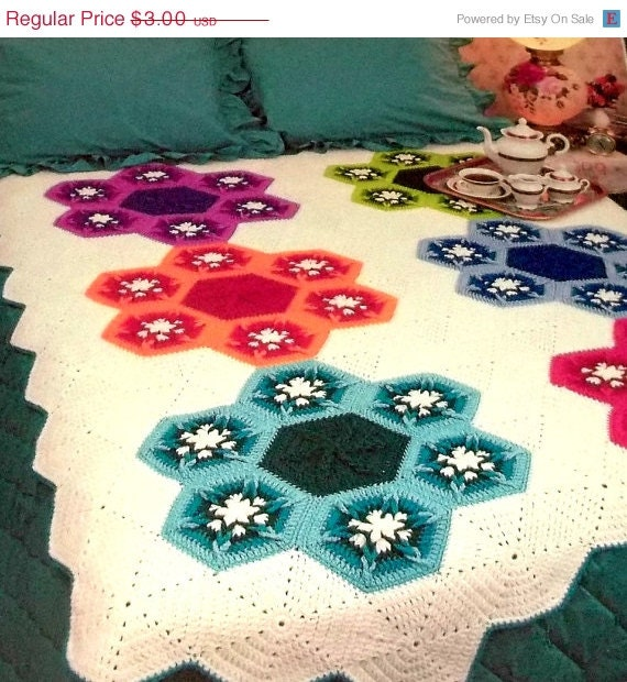 On Sale- Crochet Afghan Pattern Flower Hexagon Quilt Pattern Original Annies Crochet Newsletter Magazine  Pages Out Of Print
