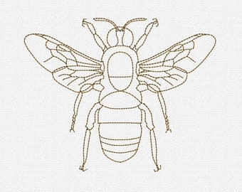 Redwork Bee Machine Embroidery Design Pattern Download 4x4 5x7 Modern Honey Bee