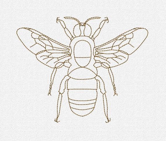 Redwork bee machine embroidery design pattern download