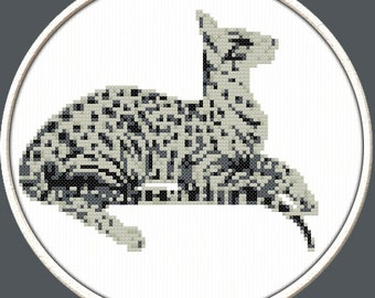 Spotted Cat - PDF Downloadable Printable Cross Stitch Pattern