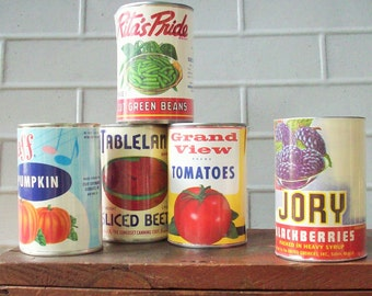 Vintage Paper Printed  Labels / Not Reproduction / 1940's / Pantry Decor / Beautiful Graphics