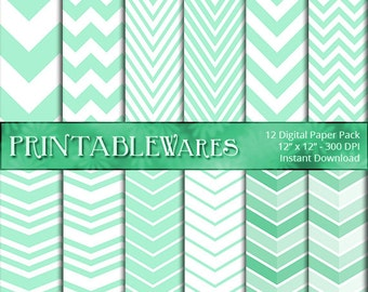 Mint Chevron Digital Paper Pack - Zig Zag Pool Party Baby Shower Scrapbook - Card Making - Printable Backgrounds 12x12