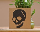 Skull - linocut greeting card