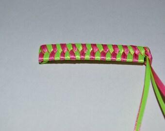 Pink and Green Ribbon Barrettes