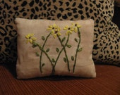 Yellow Cone Flower Primitive Pillow, FAAP, OFG, HAFAIR