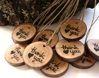 12 Wooden Thank You Gift Tags, Rustic Wedding Wooden Tag, Wooden wedding favor tags