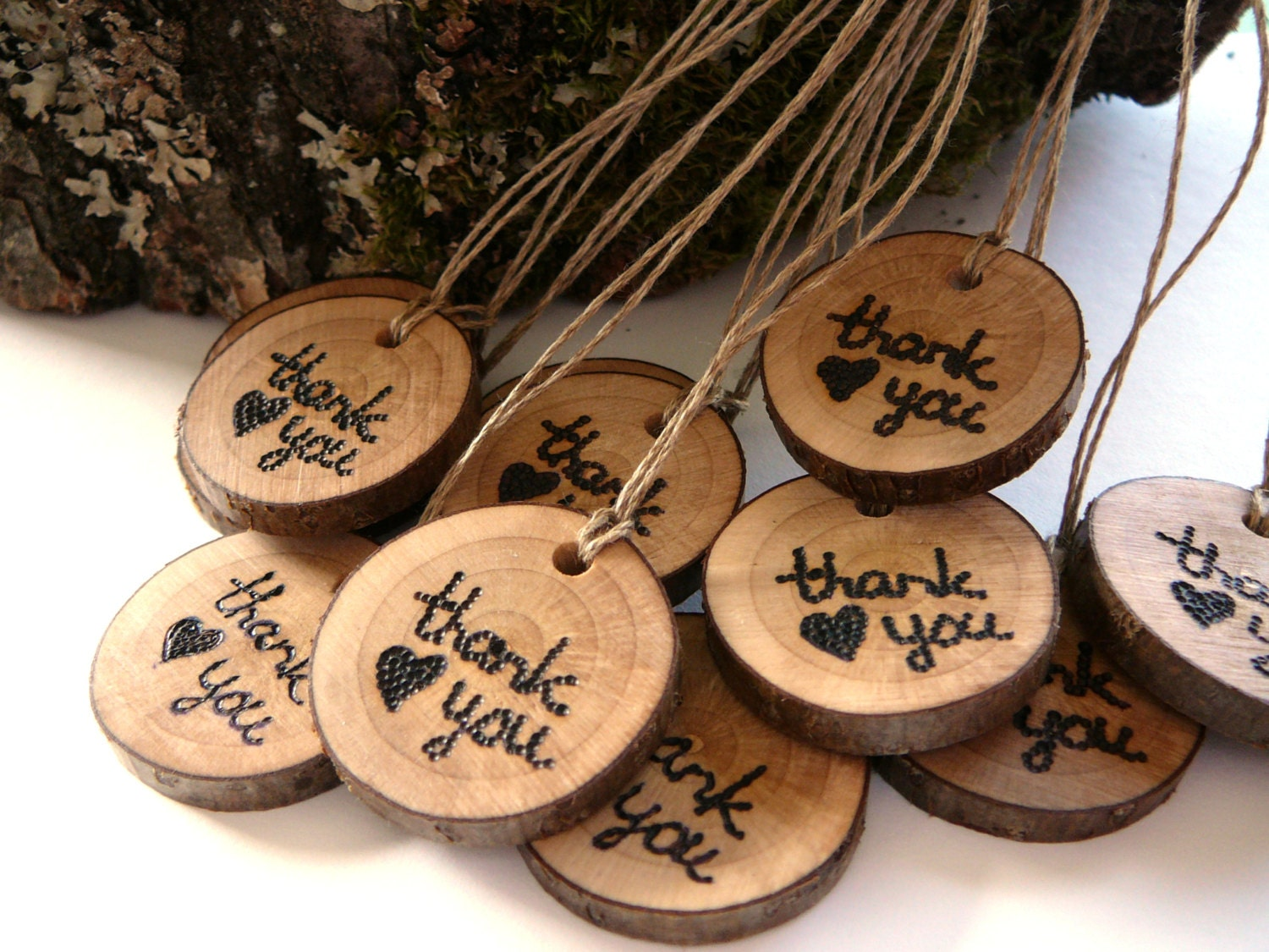 Wedding Thank You Gift: 12 Wooden Thank You Gift Tags Rustic Wedding Wooden Tag