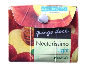 Repurposed carton wallet, Portuguese peach juice, Portugal paper clutch, peach mini-bag, Pingo Doce, Nectaríssimo Light Pêssego, portemonnee