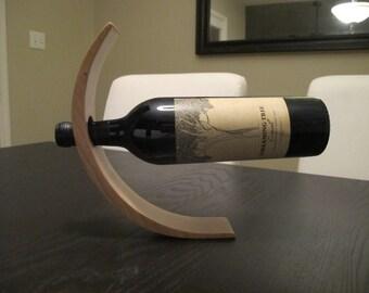 Stunning balancing wine bottle holder - Natural Cherry