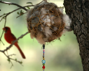 Alpaca Fiber-filled Bird Nesting Ball Individually and Artistically Handcrafted for Your Feathered Friends