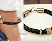 Men's Leather Bracelet, Black Leather Bracelet, Copper Jewelry, Men's Engraved Bracelet, Beach, Boho, Men's Fashion, Etched Bracelet