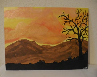 "Original 9"" x 12"" Acrylic Painting. ""Dawn in the Desert"""