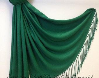 EMERALD GREEN PASHMINA - emerald green shawl - bridal scarf - bridal shawl - bridesmaid gift - wedding gift - scarf - shawl - gift -