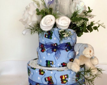 It's a Boy! Baby Shower Disposable Diaper Cake Centerpiece or Baby Shower Gift