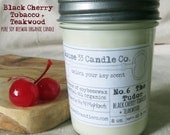 handpoured soy candle No. 6 The Tudor, Black Cherry Tobacco + Teakwood soy beeswax candle with essential oils, organic candle, eco, dyefree