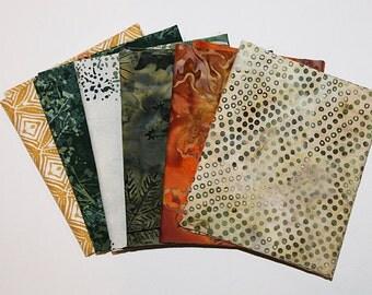 Batik Fat Quarter Bundle, Fall in the Forest, Fabric Destash, 6 Pc Bundle