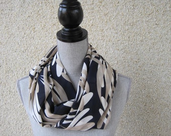 Fabric scarf, Infinity scarf, tube scarf, eternity scarf, loop scarf, long scarf, cowl scarf, circle scarf, white beige and navy print scarf