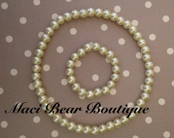 Toddler Pearl Necklace And Bracelet Set Birthday Party