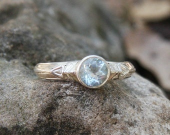 White Beauty Silver Ring, saphire ring, silver ring, ethnic ring, engagement ring, carved ring, stone set,