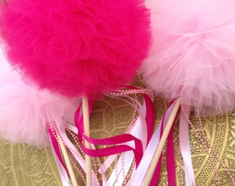 6 Tulle pom poms Bead Wand ,Party Decoration,fairy wands,Princess Wands,Pom Pom Favors Centerpiece