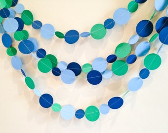 Paper Circle Garland - Navy, Light Blue and Kelly Green - Custom Colors - Birthday, Room Decor, Party Garland