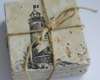4 Lighthouse Stamped Tile Coasters