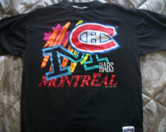 Montreal Canadiens hockey team T-shirt  Vintage 1990