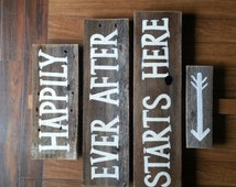 Happily ever after starts here sign Wedding Sign Welcome Sign Rustic Wedding Reception Signage Entrance Sign Country Sign