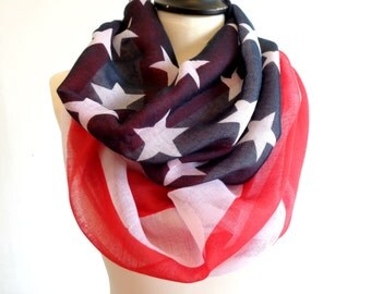 Infinity Scarf, American Flag Scarf, Chunky Infinity Scarves, Women Scarf, Loop Scarf Woman, Infinity Loop Scarf, Infinity Scarf Woman