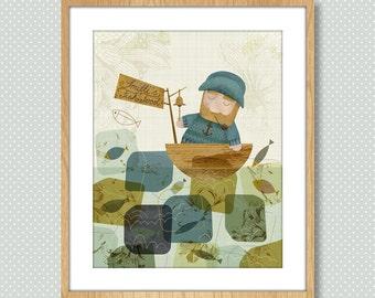 Retro Art, Nautical Art, Retro Nautical, Nautical Artwork, Giclee Print, Mid Century Art, Retro, Maritime Bedroom Decor - One Fine Fisherman